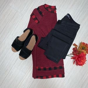 Sweaters - Red sweater with buffalo plaid